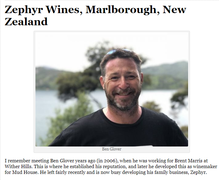 Jamie Goode's wine blog Zephyr Wine