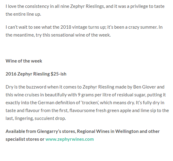 Summer of Riesling and Wine of the week… 2016 Zephyr Riesling Zephyr Wine