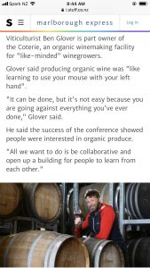 Glover on Organics Zephyr Wine