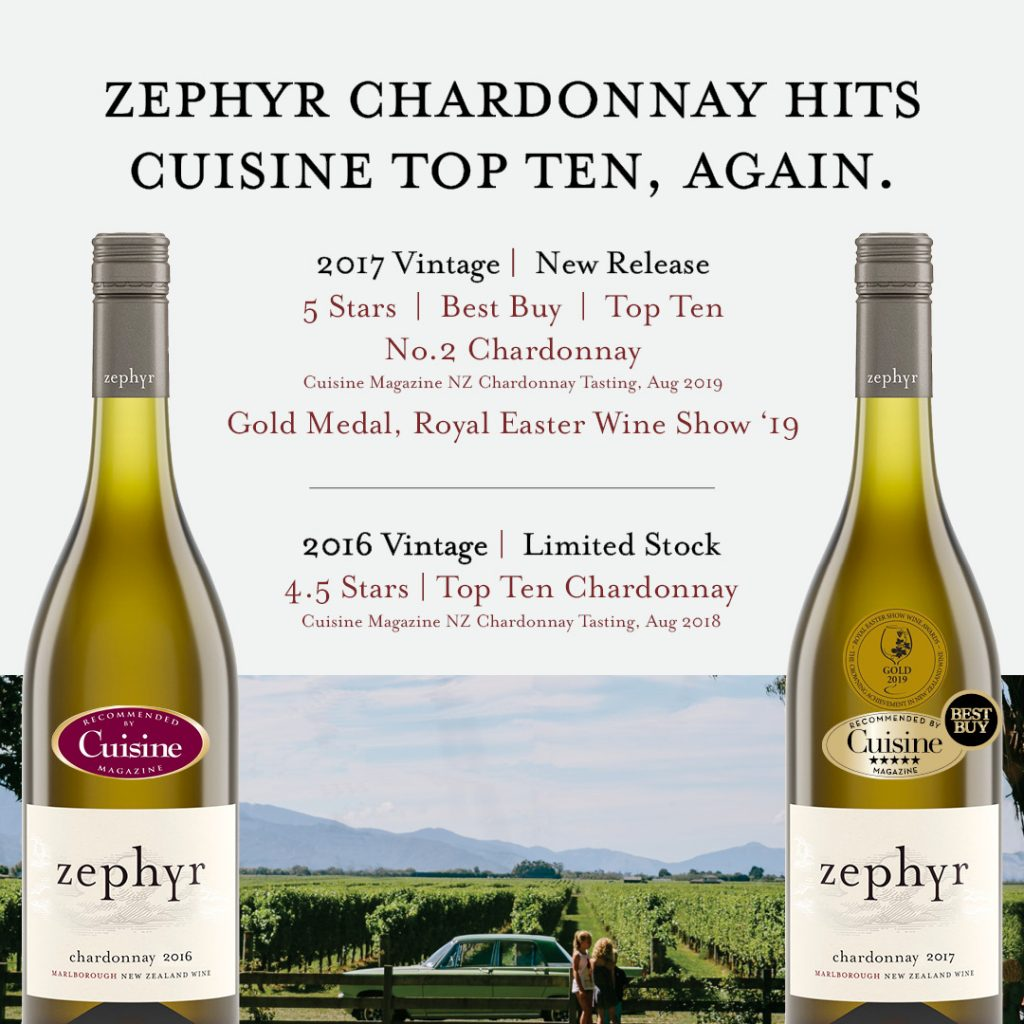 Zephyr Chardonnay cruises into the Cuisine top ten, again Zephyr Wine